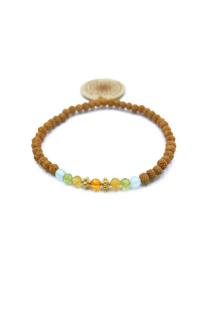 Mala spirit, ocean wave armband med akvamarin, peridot, citrin och bärnsten