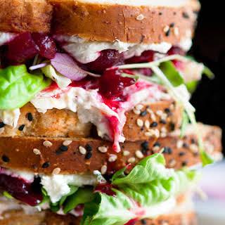 Cranberry Cream Cheese Turkey Salad Sandwiches.