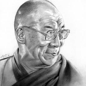 Tenzin Gyatso, The 14th Dalai Lama by Franky Go - Drawing All Drawing ( pencil, religion, realistic, dalai lama, the 14th dalai lama, male, buddhist, tibet, buddha, drawing, tenzin gyatso )