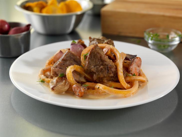 Milk-Braised Pork Shoulder Stroganoff with Butternut Squash Noodles, Chanterelle Mushrooms and Thyme-Brown Butter Sauce Recipe