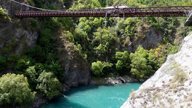 Photo: We left the North Island to fly to Queenstown in the South Island.  Bungy Jumping began here in 1988 at the Kawerau Suspension Bridge.  Today it costs $125 to jump, but is free for 75 years old or older.  Two of our men jumped for free!