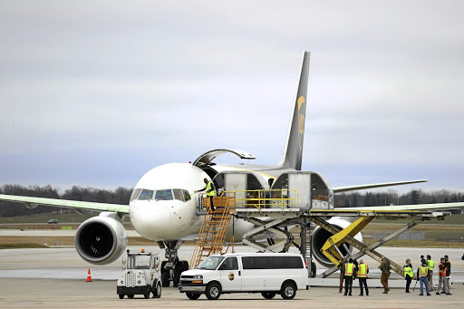 Help is at hand: A shipment of the Pfizer-BioNTech Covid-19 vaccine are is loaded into a UPS plane in Lansing, Michigan. Picture: Getty Images/Rey Del Rio