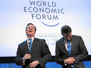 Photo: DAVOS/SWITZERLAND, 26JAN12 - David Cameron, Prime Minister of the United Kingdom and Lord Coe, Chair, London Organising Committee of the 2012 Olympic Games and Paralympic Games (LOCOG), United Kingdom are laughing captured during the session 'Special Address' at the Annual Meeting 2012 of the World Economic Forum at the congress centre in Davos, Switzerland, January 26, 2012.  Copyright by World Economic Forum swiss-image.ch/Photo by Moritz Hager