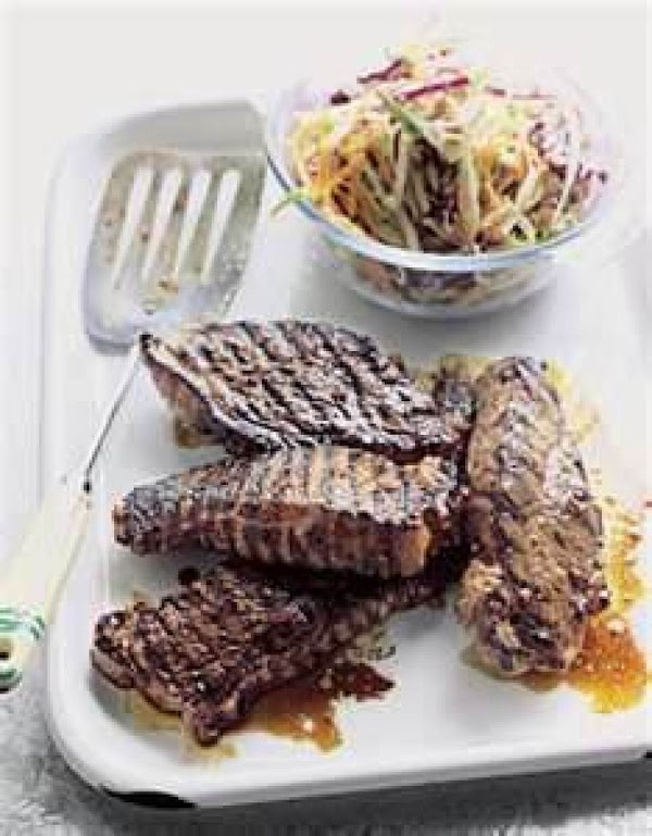 Preheat Grill for High heat. Lightly OIL your Grates, Place steaks on grill. Discard Marinade. Cook for 5...