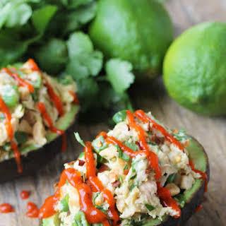 Healthy Thai Tuna Stuffed Avocado.