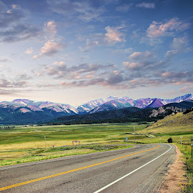 Mountian Highway by Bruce Newman - Transportation Roads ( mountains, open road, cloudy sky, landscape,  )