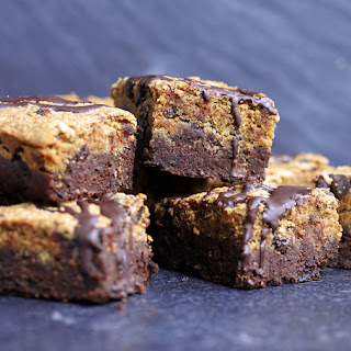 Cookie Dough Brownies Vegan, Gluten-free & Sweetened With Dates.