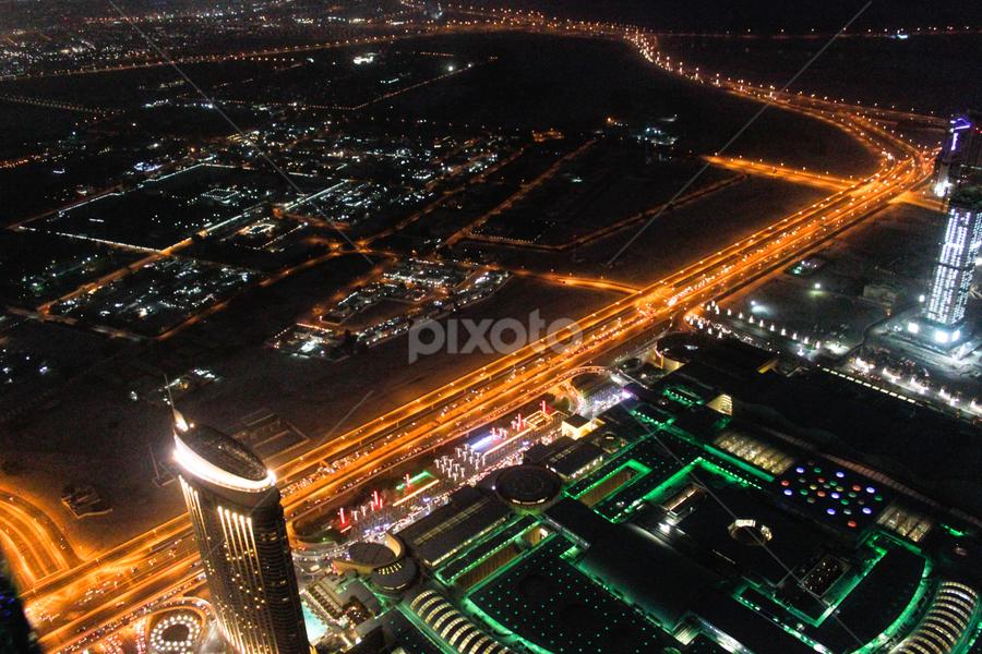 View from  the top of Burj Khalifa! by Rahul Bakshi - City,  Street & Park  Street Scenes