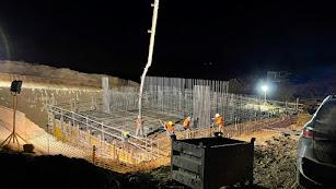 Obras por la noche en el Viaducto La Pez del tramo Los Arejos-Níjar.