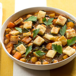Jamaican Curry Chili with Purple Top Turnip, Collard Greens & Pita Croutons.