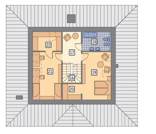 Dom dla Ciebie - wariant I - M14a - Rzut poddasza