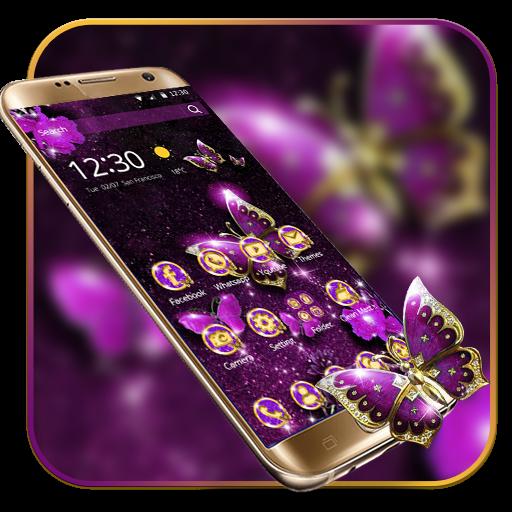 Purple Luxury Golden Butterfly Theme