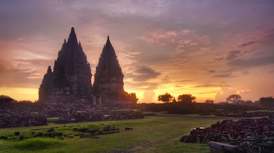 Photo: Prambanan Sunset  Sometimes the lighting is best right after the sunset.   And sometimes this is right when the police come to get you.  Maybe they were security guards.  But it was hard to tell in the dark - and, besides, I didn't know the difference between the clothes of a security guards and a policeman in Indonesia.  I had Will with me when these guys approached us, and he was not help at all.  He did manage to keep them busy for a while so I could take some final shots, but we could tell that we had worn out our welcome.  So then the guards started to escort us right out of there.   www.stuckincustoms.com