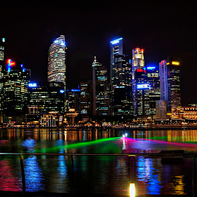 Singapore City Nightscape by Rozaitonisah Razali - City,  Street & Park  Skylines ( water, skyline, light, singapore, colours )