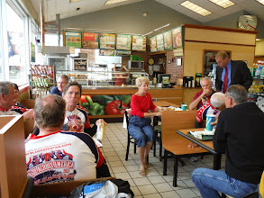 Photo: We are met by Darryl's sister Beverly Johnson and husband Roger, together with their friends Gyl and Mike Hondorp and their son meet us at Dairy Queen.