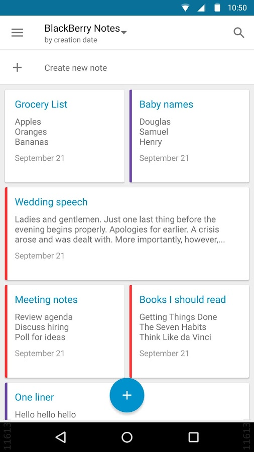 Notes by BlackBerry- screenshot