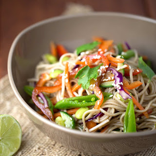 Asian Soba Noodle Salad With Soy Dressing.