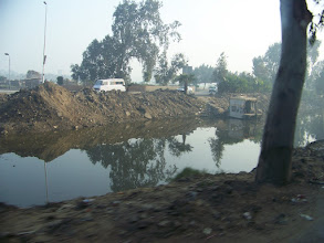 Photo: Not the Nile. The canal on the way to the pyramids.