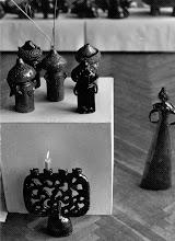 Photo: prace ceramiczne, wystawa na sali gimnastycznej