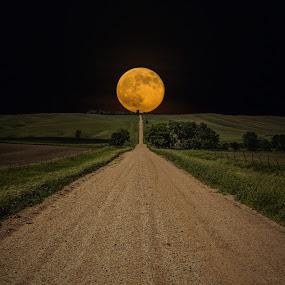 Road to Nowhere - Supermoon by Aaron Groen - Landscapes Starscapes ( super, hills, moon, road to nowhere, minnesota border, south dakota, road, gravel, dirt, supermoon )