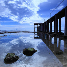 Bulakan Beach by Steven Tessy - Landscapes Waterscapes ( reflection, pier, cloud, beach )