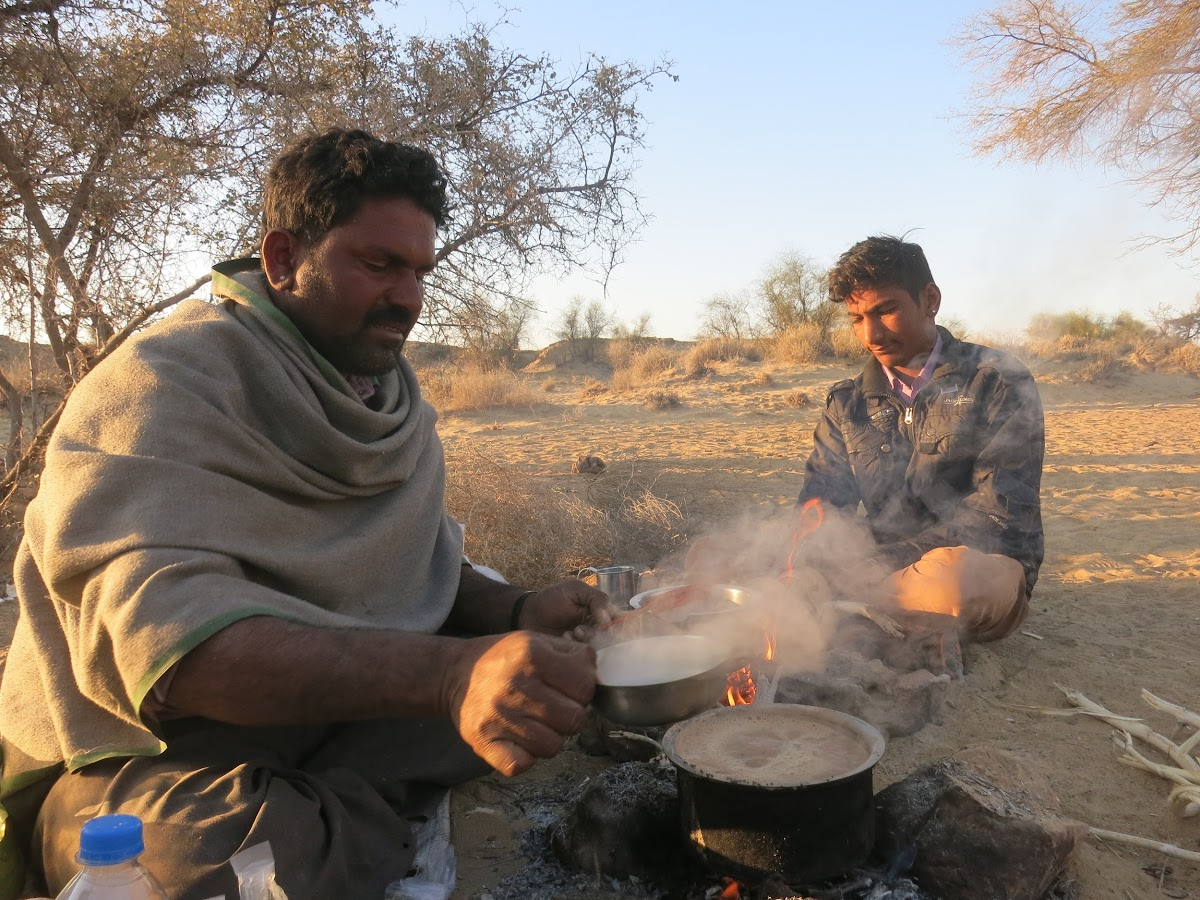 India. Rajasthan Thar Desert Camel Trek. Our guide Punja and cook assistant Madan