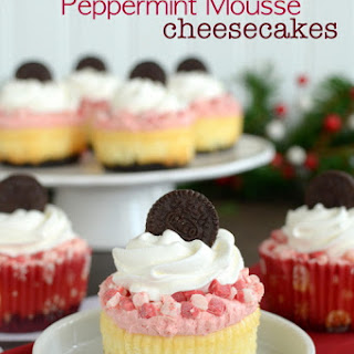 White Chocolate Peppermint Mousse Cheesecakes.