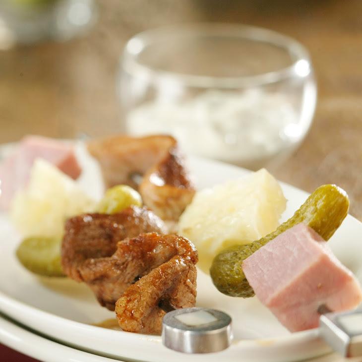 Cubano Pork Appetizer Skewers and Cilantro-Citrus Dip