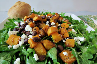 Photo: Butternut Squash & Smoky Black Bean Salad - A sweet and spicy butternut squash and black bean salad, served on a bed of arugula and crumbled goat cheese.  http://www.peanutbutterandpeppers.com/2012/11/08/butternut-squash-and-smoky-black-bean-salad/  #butternutsquash   #blackbeans   #saladrecipes   #CookingLight   #salad