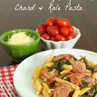 One-Pot Sausage, Spinach, Chard and Kale Pasta