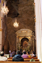 Photo: The miraculous image.  It is not painted.  What you see is the color of the rock.
