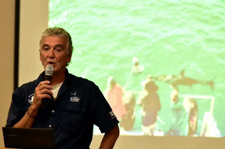 Lloyd Edwards presents his plan for shark cage diving near Algoa Bay's Bird Island last night
