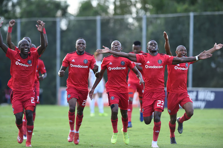 Orlando Pirates players celebrate their winning goal during the Absa Premiership 2018/19 game between Bidvest Wits and Orlando Pirates at Bidvest Stadium in Polokwane the on 06 April 2019.