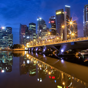 Singaporean Dawn by Richard Amar - City,  Street & Park  Skylines ( cityscapes, light bursts, canon ef24-70mm f/2.8l lens, twilight, reflections, leisure, canon eos 5d mark iii, travel, singapore )