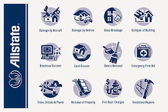 "Photo: Allstate Insurance Coverage Icons - ""Damage by Aircraft, Damage by Vehicle, Glass Breakage, Collapse of Building, Electrical Current, Land Erosion, Debris Removal, Emergency First Aid, Trees, Shrubs & Plants, Removal of Property, Fire Dept. Charges, Temporary Repairs"""