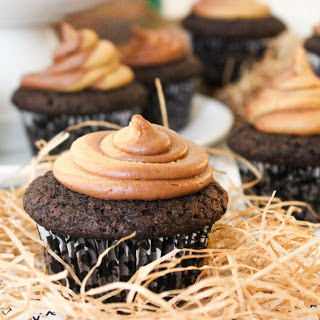 Chocolate Cupcakes With Peanut Butter Swirl Frosting [Vegan].