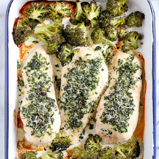 One Pan Parmesan-Crusted Chicken with Broccoli Recipe