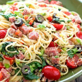 Italian Spaghetti Salad with Spinach.