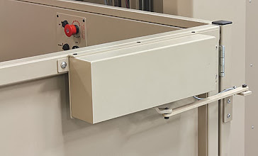 Photo: We install automatic door openers that are specifically designed for our top of the line Bruno Vertical Platform Lifts (Also known as Wheelchair Lifts or Porch Lifts). This addition to the product line makes in-home accessibility even easier. 800-485-7789  More Info On VPL's:http://goo.gl/tCpXqZ  #VPL #AgeInPlace #Accessibility #M123 #ElectricDoors  #Mobility123