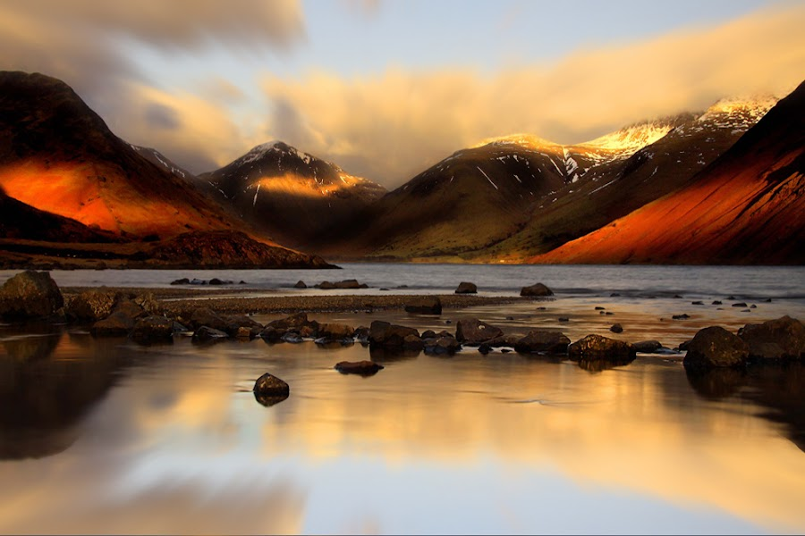 Wastwater by Wolfy Pic - Landscapes Mountains & Hills ( wasdale, mountain, great gable, cumbria, sunset, wolfy, wastwater, lake district )