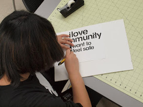 Photo: MICA students create stencils for the street, Baltimore, MD, USA