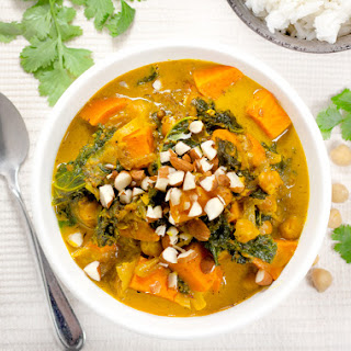 Chickpea Curry with Sweet Potato & Kale.