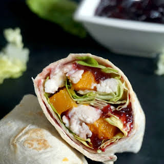 Healthy Leftover Turkey Wraps With Cranberry Sauce.