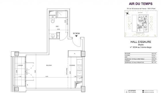 Vente studio 32,6 m2