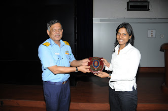 Photo: Ms. Madhukriti Srivastava, IITB, being presented with the Naval Shield  by Rear Admiral P. C. Lal, CTOC, WNC, for her demonstration of Spoken Tutorial