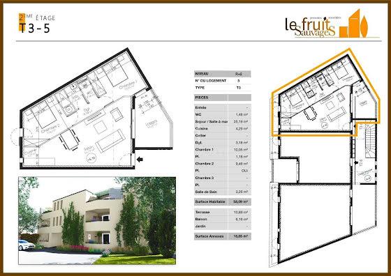 Vente appartement 3 pièces 58,09 m2