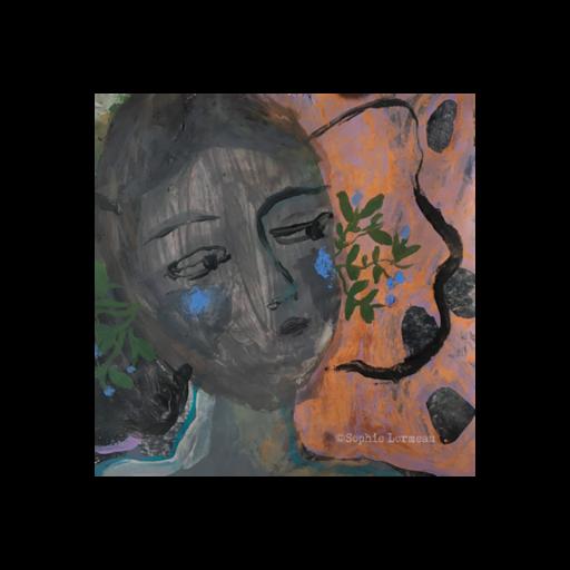 fleur bleue portrait amoureux langoureux visage plein d'emotion petit tableau peinture contemporaine scrylique sur papier sous verre oval couple amoureux baiser tendresse câlin corps rose artiste paris sophie lormeau onirisme evanescent fiancés