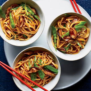 Lo Mein with Mushrooms and Snow Peas.