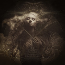 spirit of the night by Kathleen Devai - Digital Art People ( fantasy, sepia, woman, mono )