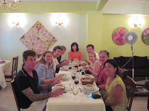 Photo: The cooking class--a really fun group. We're eating the ezogelin corbasi (red lentil and bulgur) soup we'd made.